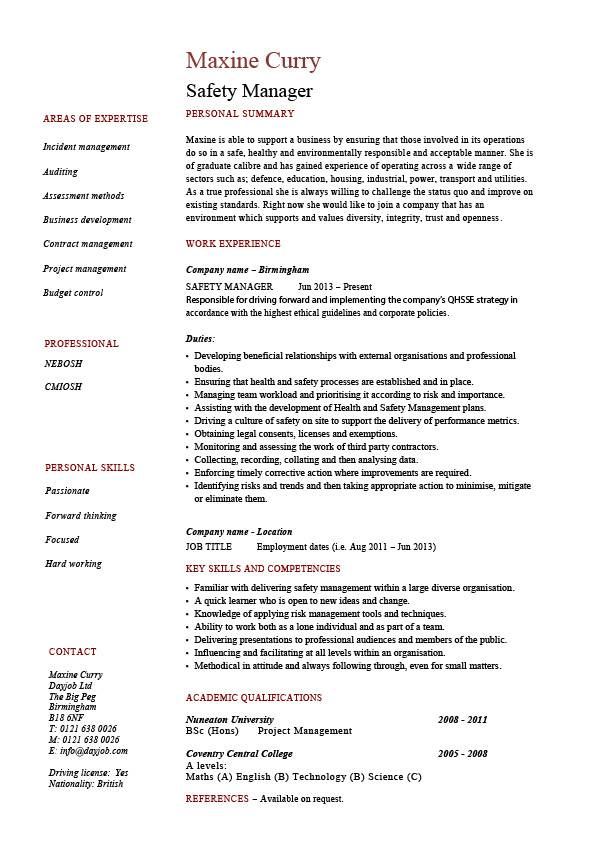 safety manager resume sample example job description template health hazards accidents Resume Training Manager Resume Keywords