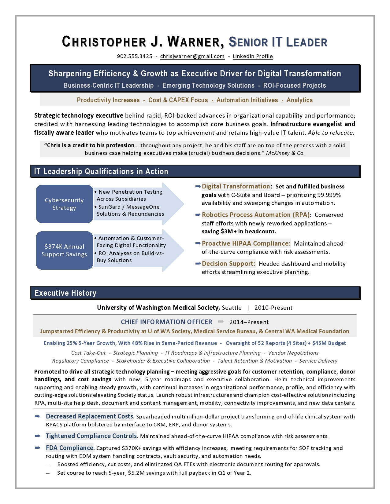 sample cio resume from executive writer it top healthcare laura proulx infographic Resume Top Executive Resume Writer