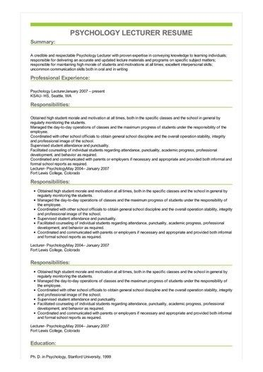 sample curriculum vitae for college professor resume objective on grad school research Resume College Lecturer Resume Example