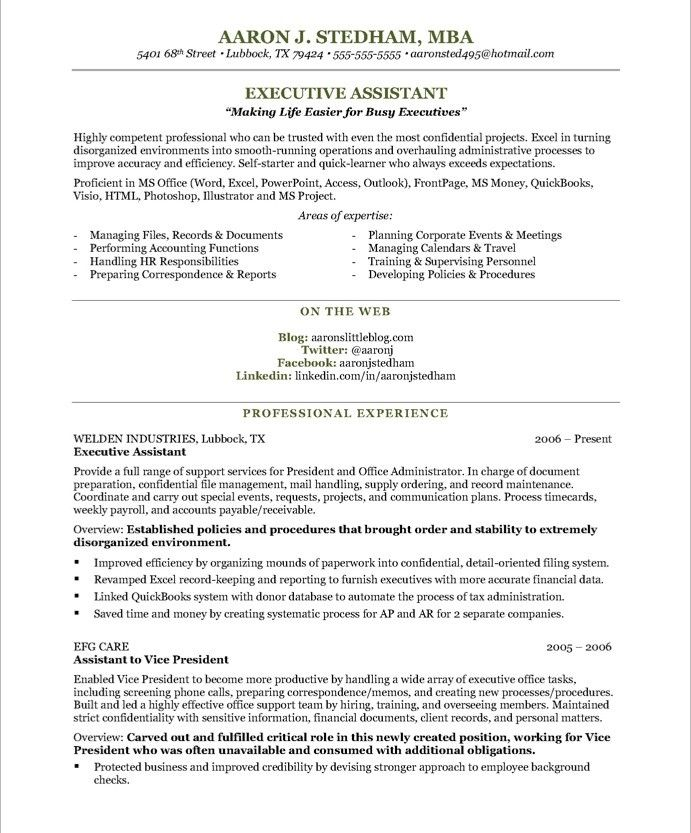 sample executive assistant résumé the layout and it gives good idea of to work on job Resume Resume About Me Sample