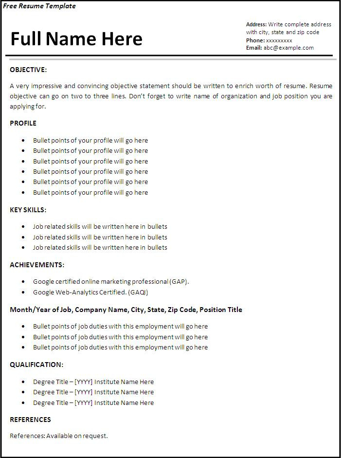 sample job resume free word templates for application template simple computer teacher Resume Free Resume For Job Application