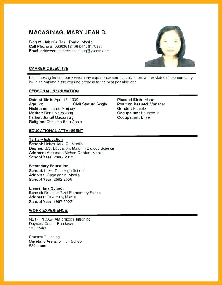 sample of resume format for job application templates examples chronological meaning Resume Job Application Resume Format