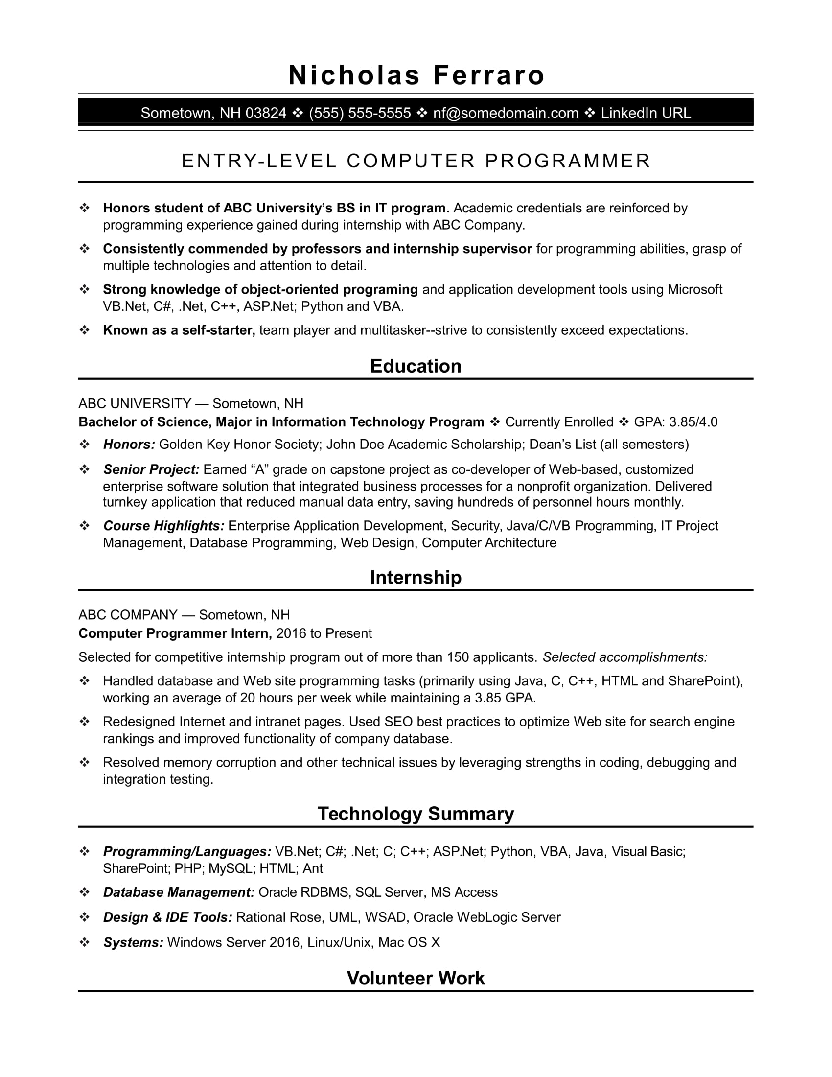 sample resume for an entry level computer programmer monster template matching machine Resume Computer Programmer Resume Template