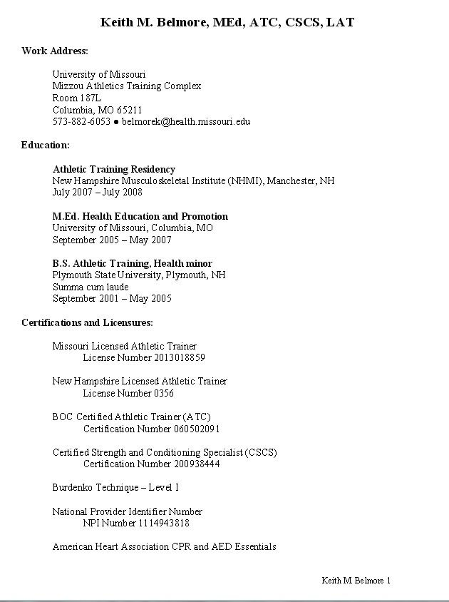 sample resume for athletic trainer resumesdesign training student template examples Resume Athletic Training Student Resume