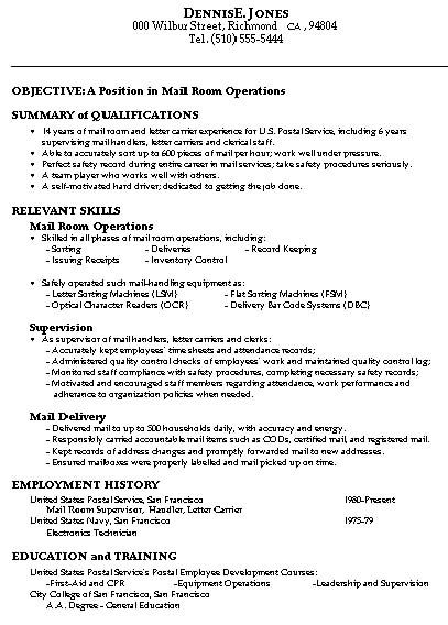 sample resume for mailroom operations manager examples dance college free edit waitress Resume Mailroom Resume Examples