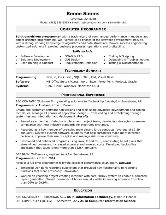 sample resume for midlevel computer programmer monster template writing lawyers web Resume Computer Programmer Resume Template