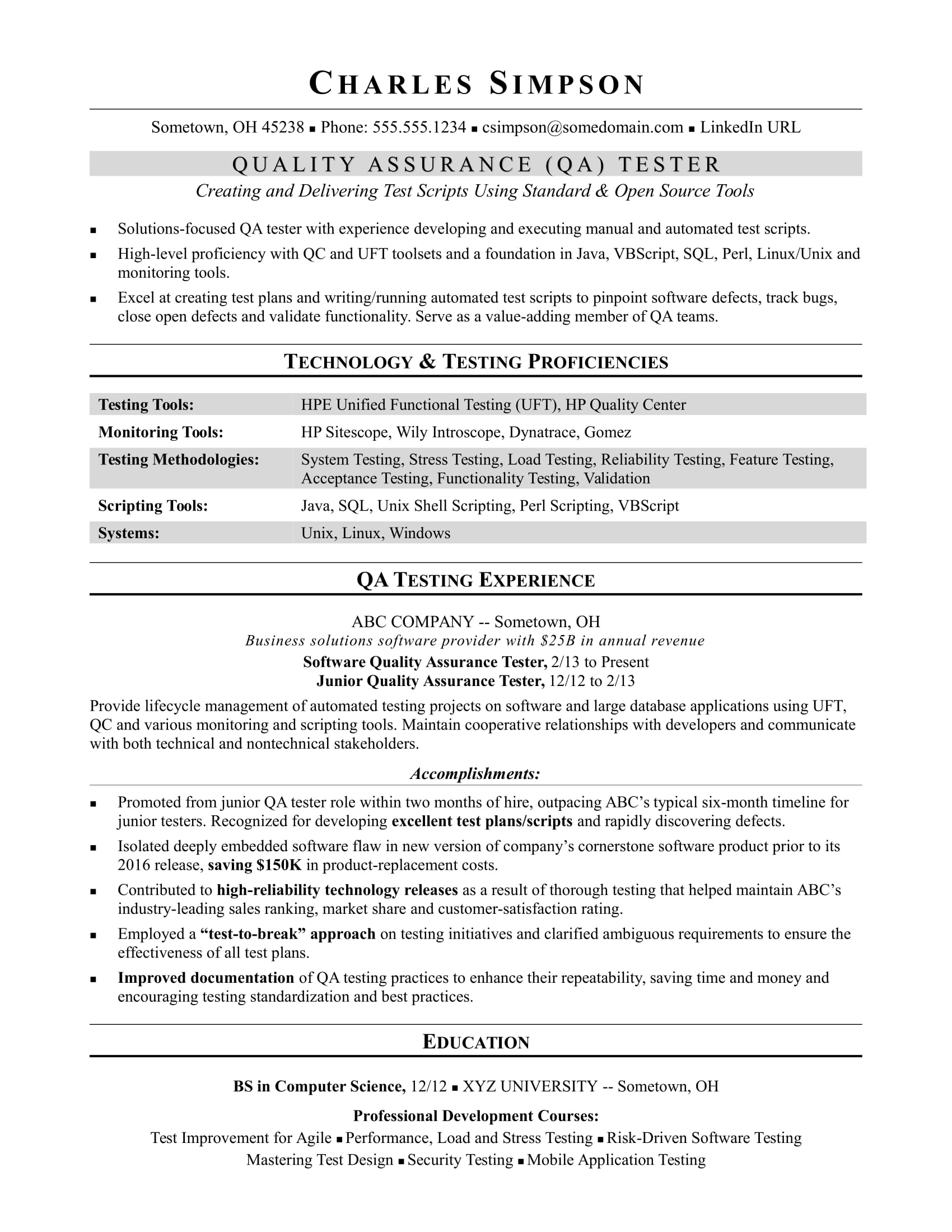 sample resume for midlevel qa software tester monster manual testing format another word Resume Manual Testing Resume Format