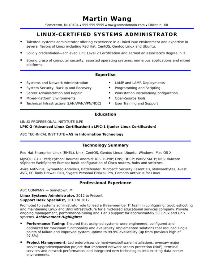 sample resume for midlevel systems administrator monster system admin format email Resume Federal Resume Writers San Antonio