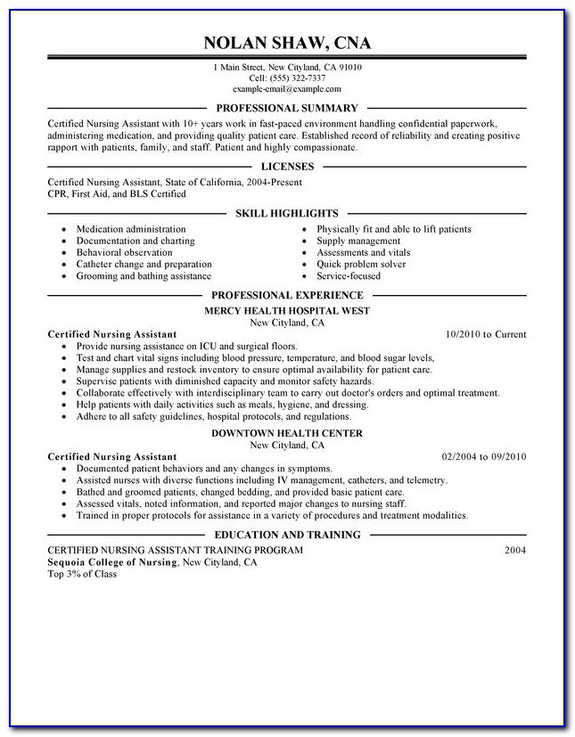 sample resume for nursing assistant with no experience vincegray2014 cna mit objective Resume Cna Resume Sample No Experience