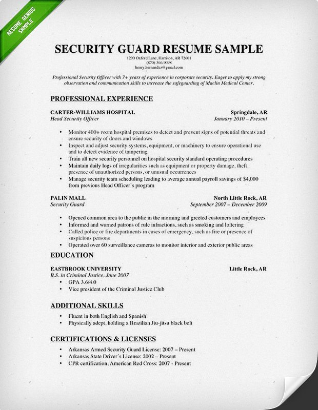 sample resume for security officer guards companies guard objective improf 620x800 Resume Security Guard Resume Objective