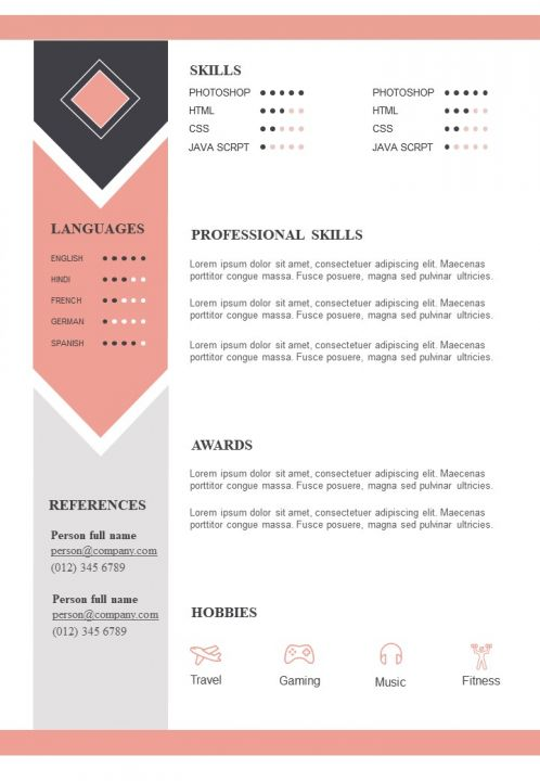 sample resume format with skills and awards section presentation graphics powerpoint Resume Skills Section Of Resume Example
