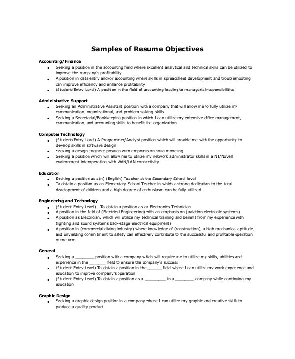 sample resume objectives pdf free premium templates best general objective for accounting Resume Best General Objective For Resume