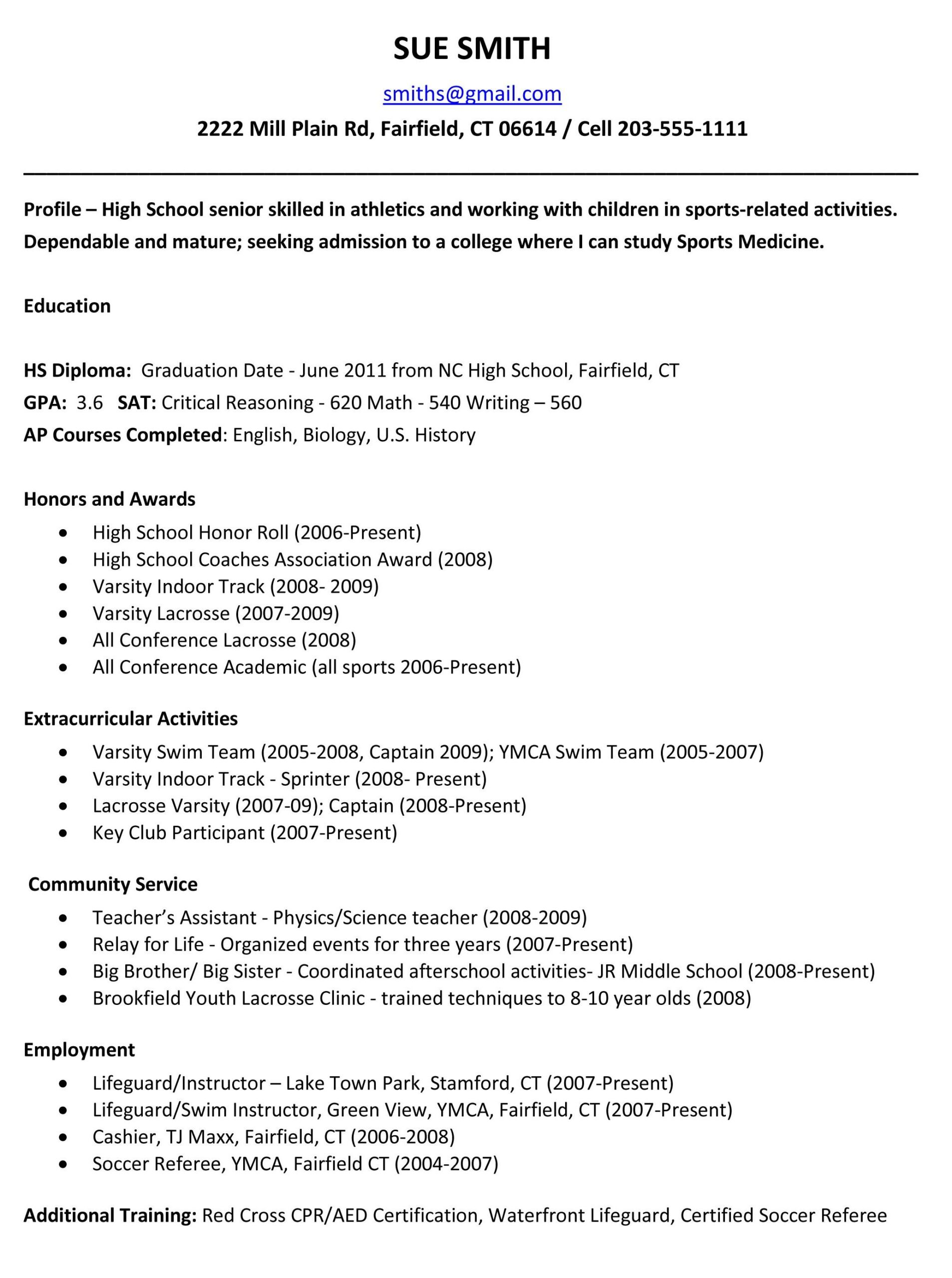 sample resumes high school resume template college application education student graduate Resume Education Resume High School Student