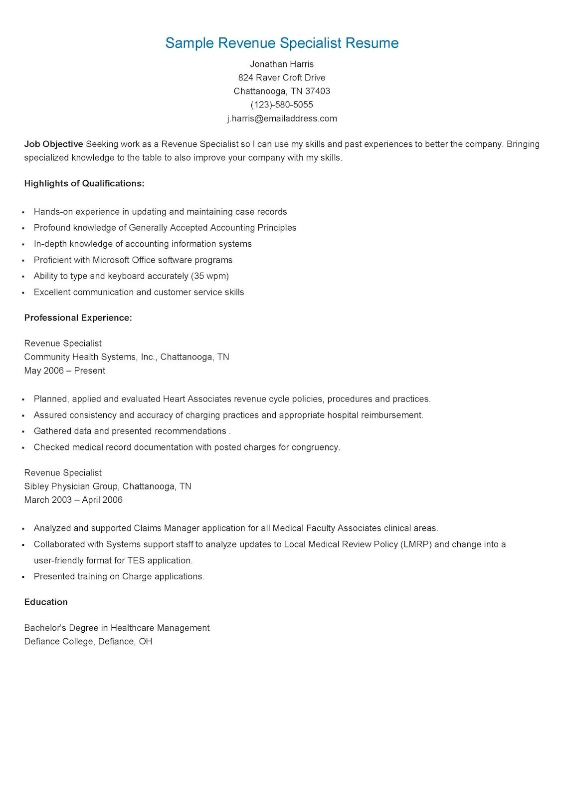 sample revenue specialist resume objective examples healthcare cycle lpn cover letter Resume Healthcare Revenue Cycle Resume Examples