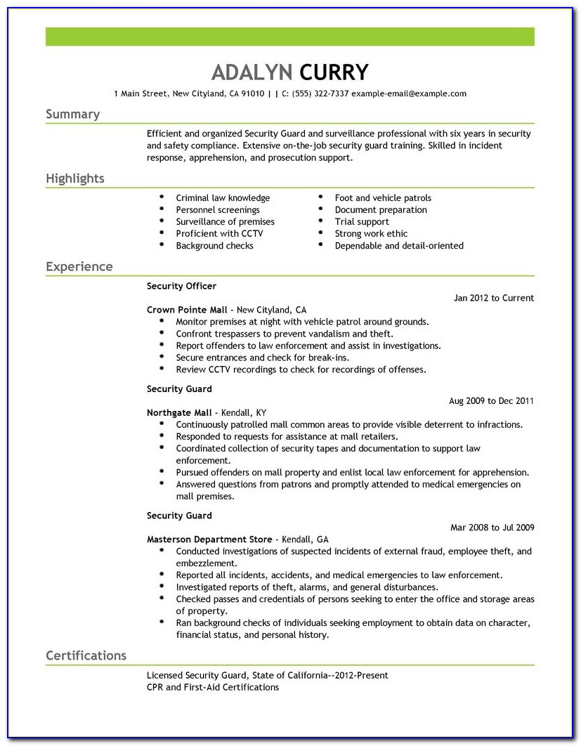 sample security guard resume objective vincegray2014 product management skills for Resume Security Guard Resume Objective