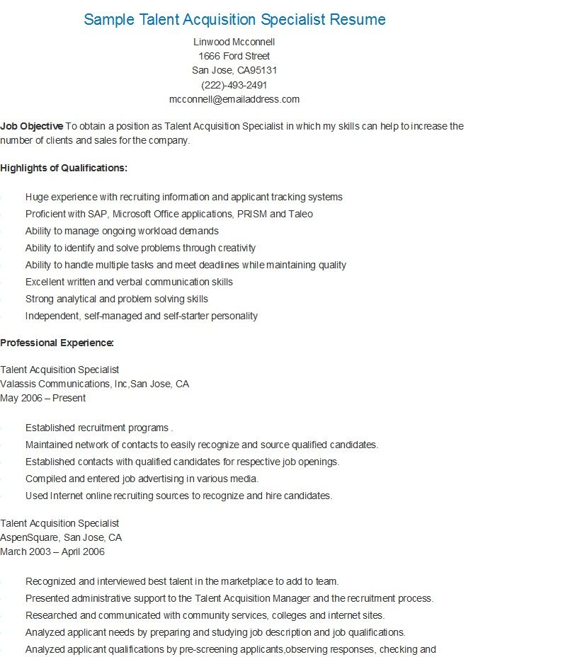 sample talent acquisition specialist resume performance evaluation scheduling skills Resume Talent Acquisition Specialist Resume