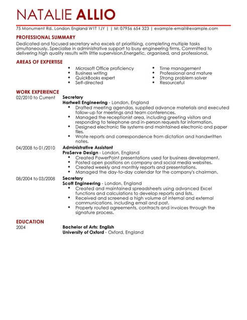 secretary admin assistant cv template samples examples resume for the position full hotel Resume Resume For The Secretary Position