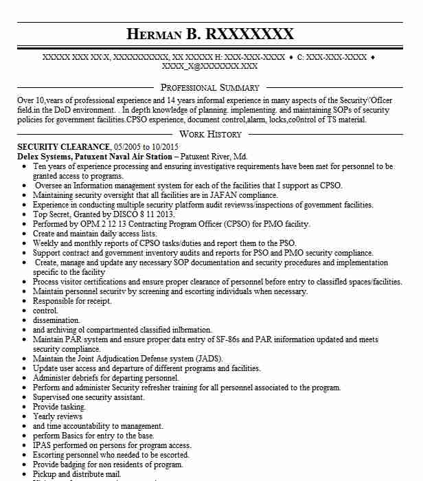 security clearance resume example ci current fayetteville north carolina on profile Resume Security Clearance On Resume