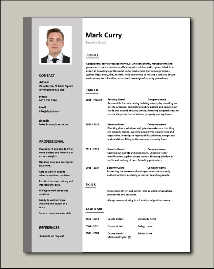 security guard cv sample position resume free template graphic design word entry level Resume Security Position Resume