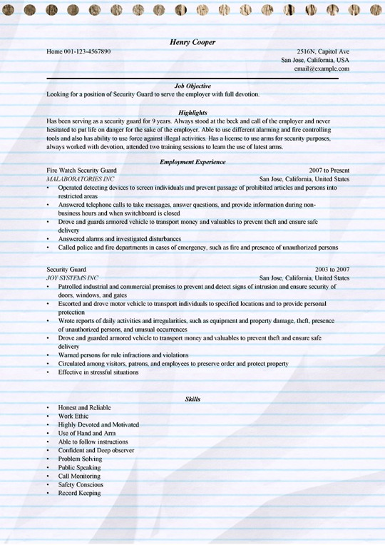 security guard resume example for microsoft word officer examples sample apartment Resume Security Officer Resume Examples