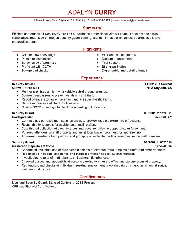 security guard resume examples created by pros myperfectresume job description law Resume Security Job Description Resume