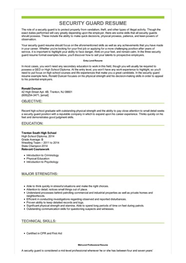 security guard resume examples objective sample image pediatrician samples for Resume Security Guard Resume Objective