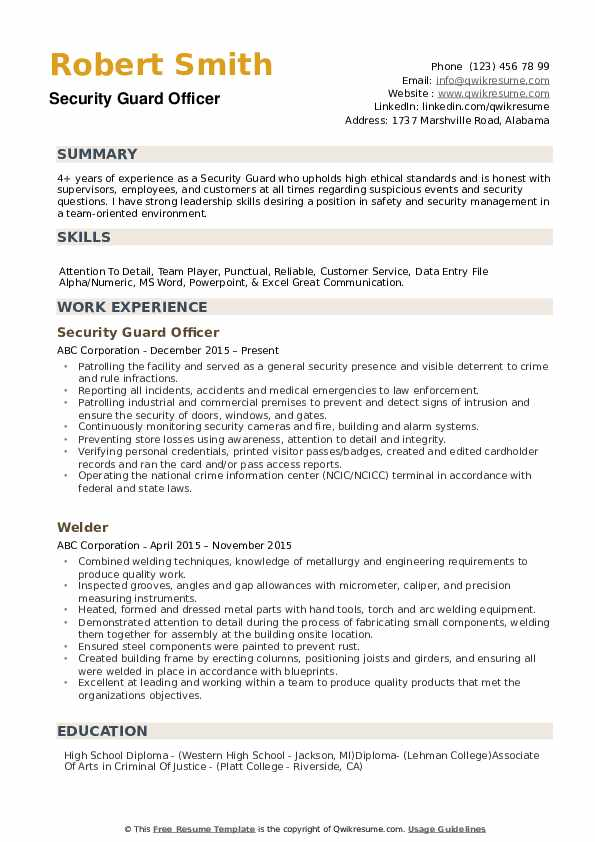 security guard resume samples qwikresume example pdf cover letter for career change Resume Security Guard Resume Example