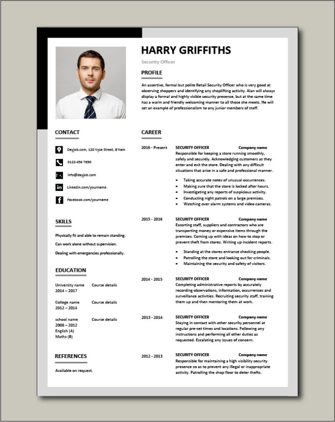 security officer cv template job description sample application safety risk assessment Resume Security Position Resume
