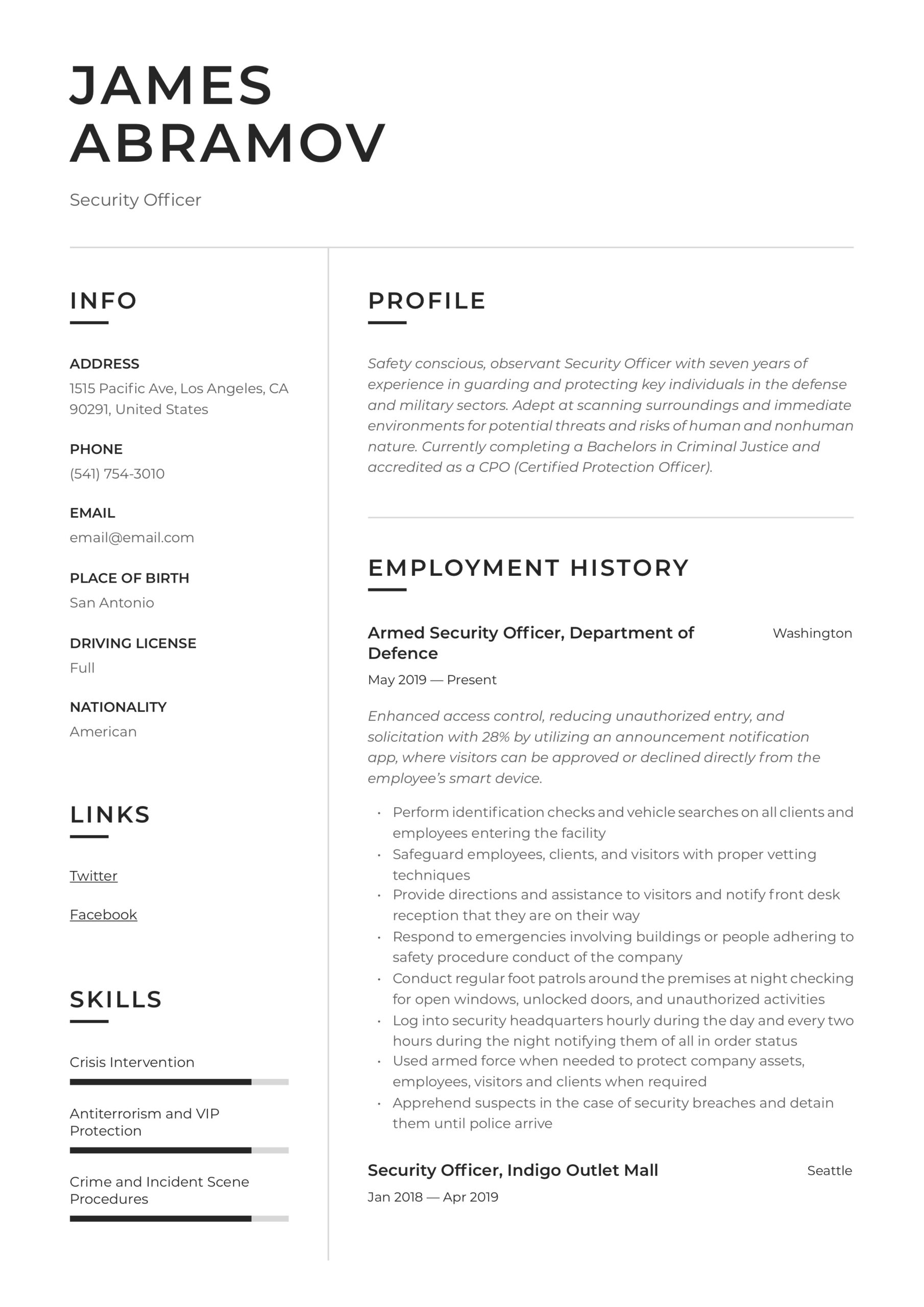 security officer resume writing guide examples truck driver job description for chef Resume Security Officer Resume Examples