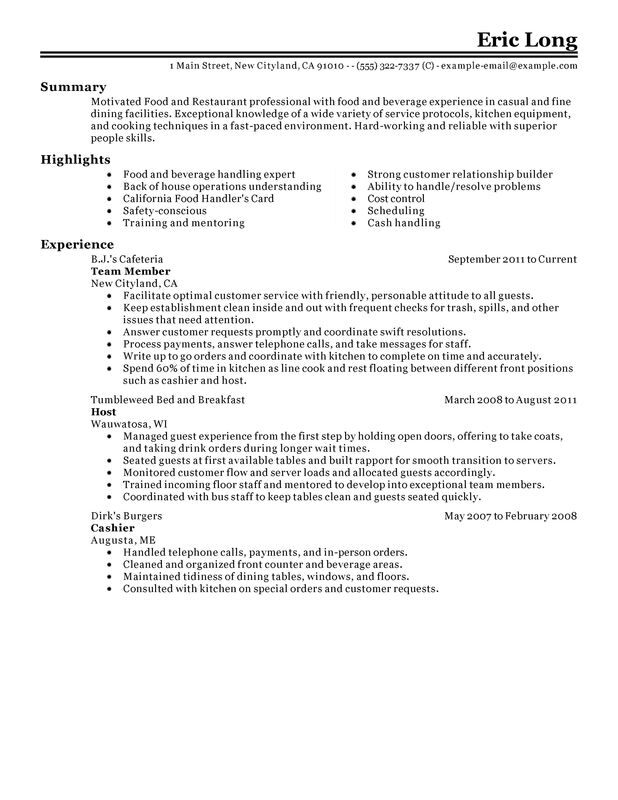 see our top customer service resume example food template and restaurant for scientist Resume Food Service Resume Template