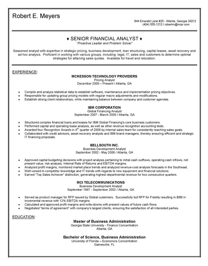 senior financial analyst resume sample loan officer objective examples better word for Resume Financial Analyst Resume Sample