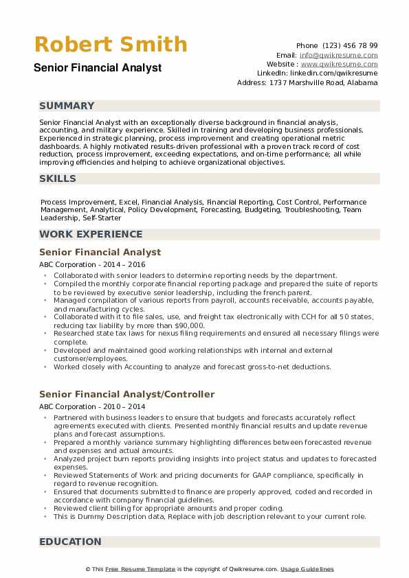 senior financial analyst resume samples qwikresume template word pdf student services Resume Financial Analyst Resume Template Word
