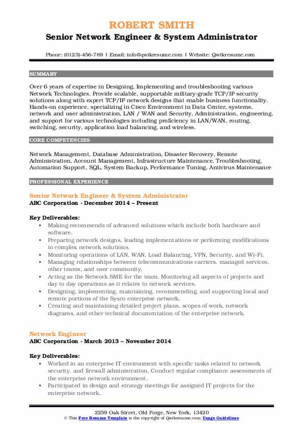 senior network engineer resume samples qwikresume title for pdf high quality examples Resume Resume Title For Network Engineer