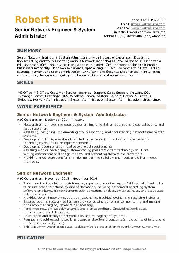 senior network engineer resume samples qwikresume title for pdf template say rptp portal Resume Resume Title For Network Engineer