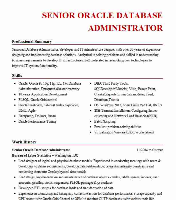 senior oracle database administrator resume example allstate insurance the colony bank Resume Oracle Database Administrator Resume
