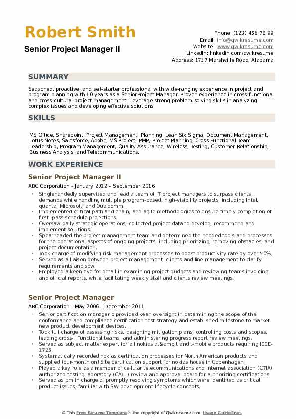 senior project manager resume samples qwikresume template pdf health and safety examples Resume Project Manager Resume Template