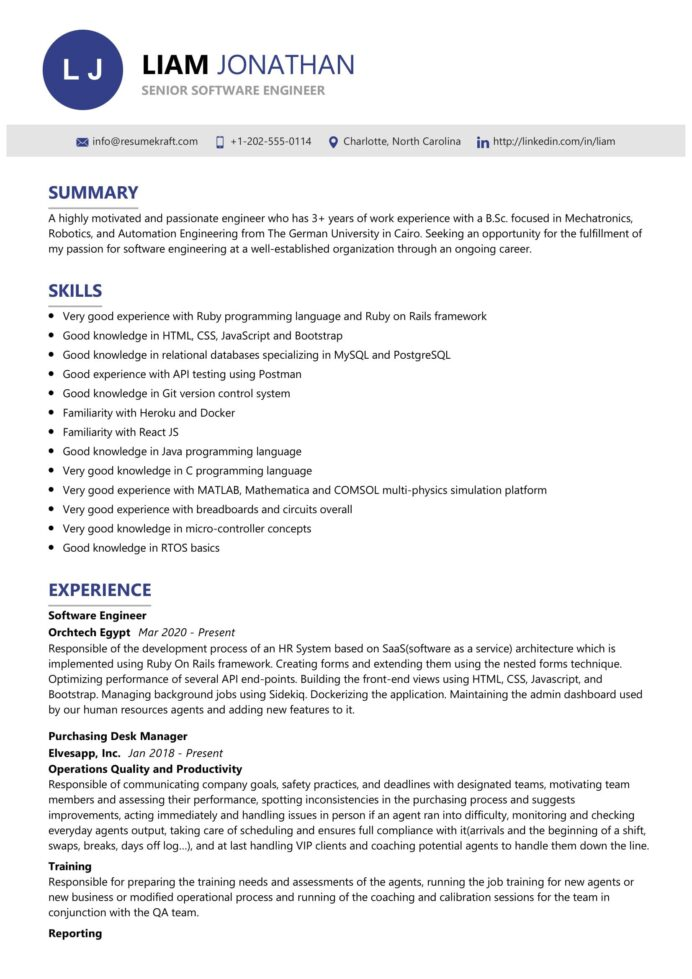 senior software engineer resume sample resumekraft elementary education sdr genius cost Resume Senior Software Engineer Resume