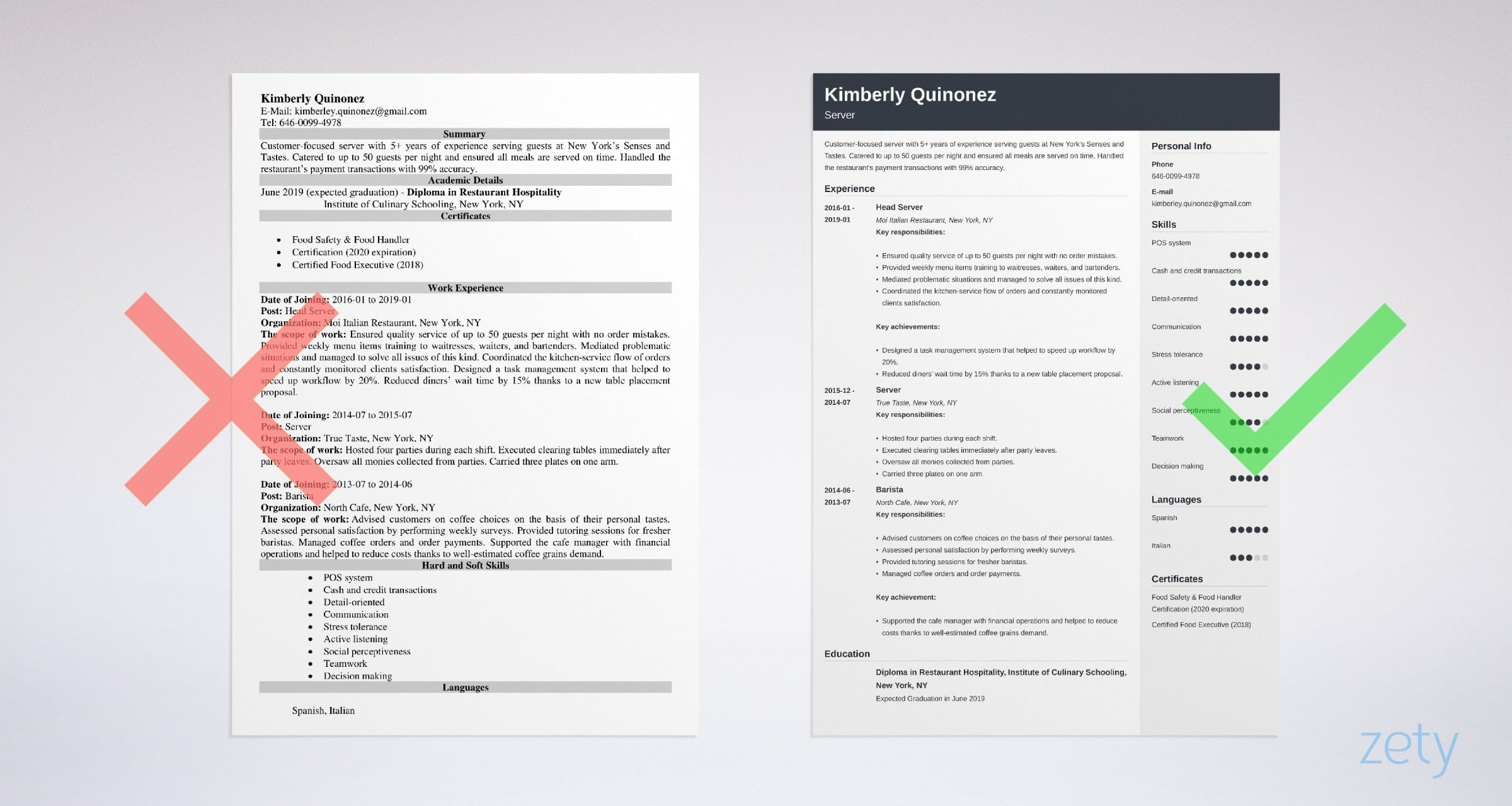 server resume examples guide tips objective example safety summary of qualifications Resume Server Resume Objective