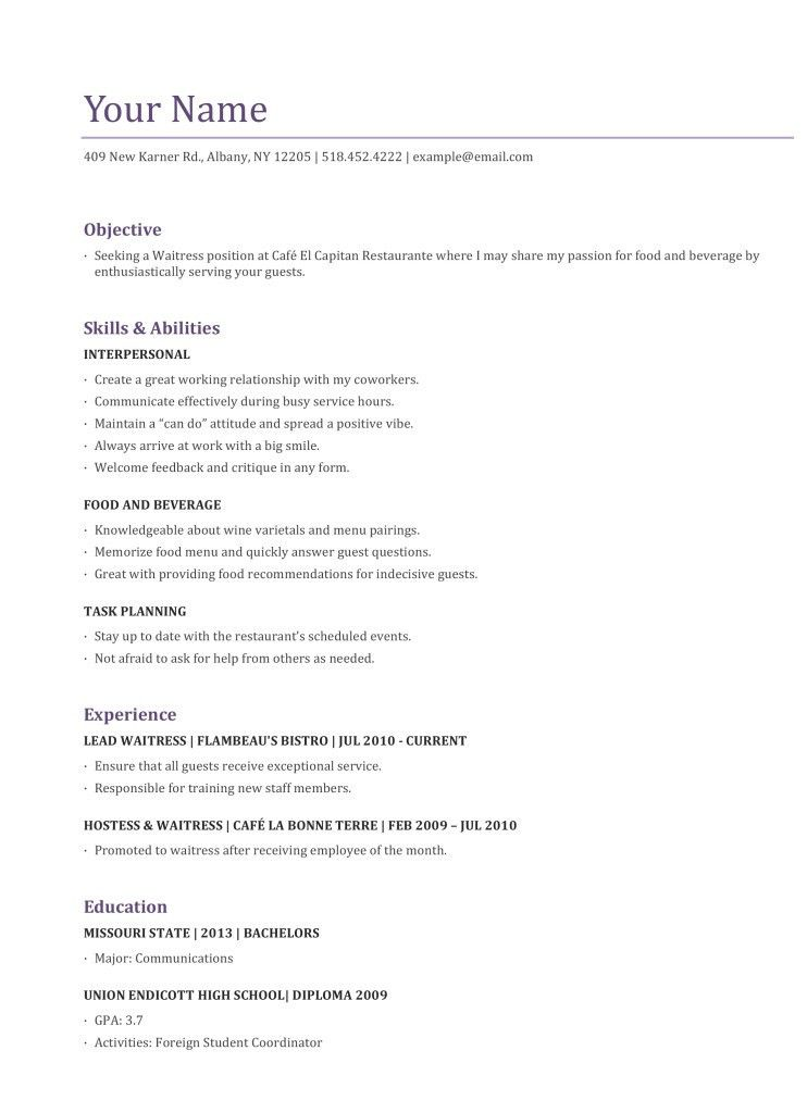 server resume objective unforgettable examples to stand out myperfectresume waiter Resume Server Resume Objective