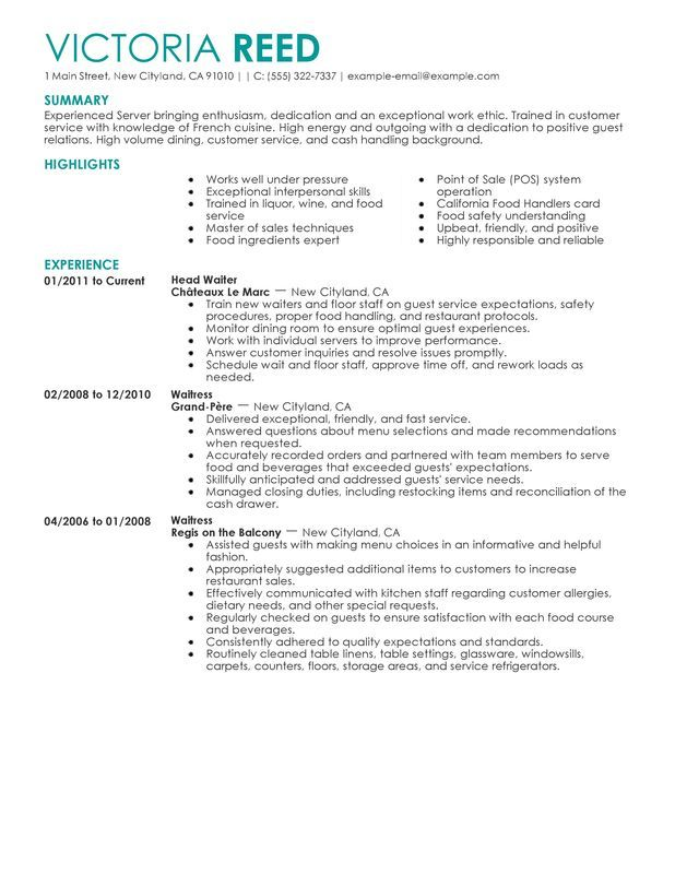 server resume sample examples job samples objective assistant microsoft word food Resume Server Resume Objective