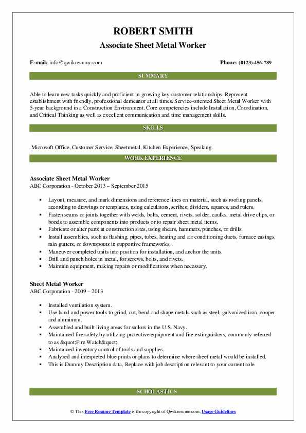 sheet metal worker resume samples qwikresume journeyman pdf library assistant our Resume Journeyman Sheet Metal Worker Resume