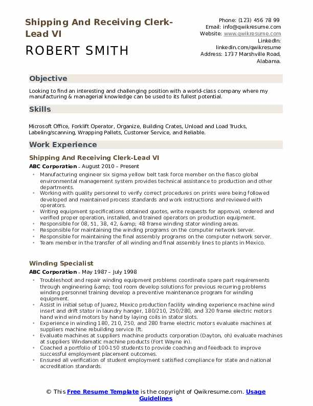 shipping and receiving clerk resume samples qwikresume pdf tcnj objective for community Resume Shipping And Receiving Clerk Resume