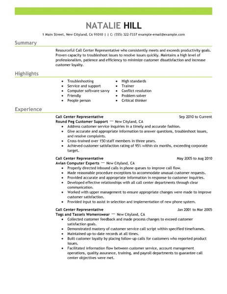 simple call center representative resume example livecareer for agent customer service Resume Resume For Call Center Agent