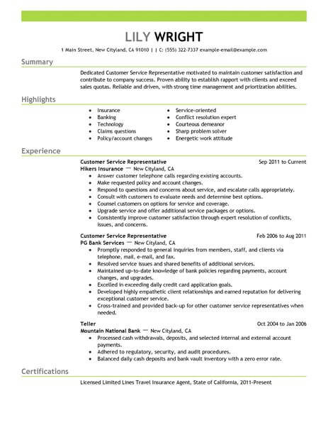 simple customer service representative resume example livecareer build number emphasis Resume Build A Resume Customer Service Number