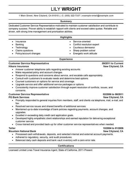 simple customer service representative resume example livecareer examples professional Resume Customer Service Representative Resume Examples