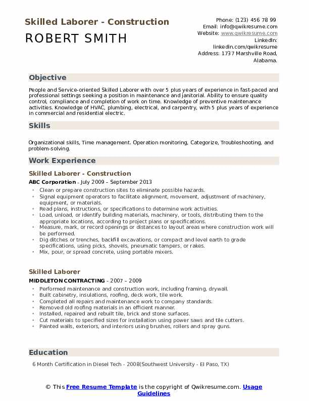 skilled laborer resume samples qwikresume skill set template pdf mother sample police Resume Skill Set Resume Template