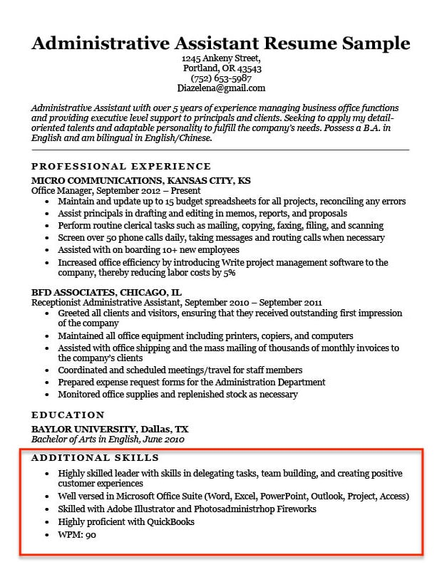 skills for resume examples to them in basic administrative assistant additional section Resume Basic Skills For Resume