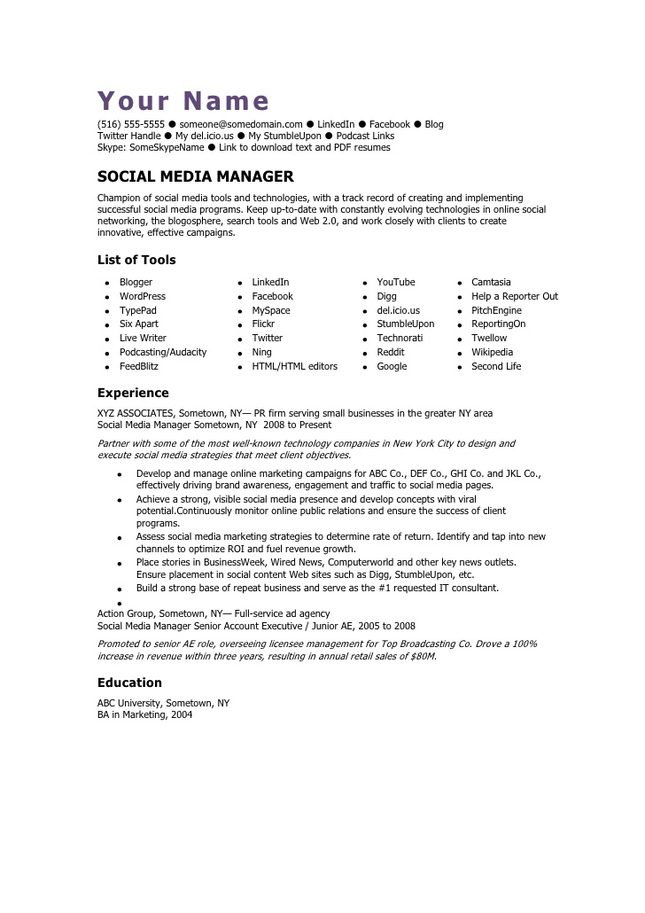 social media manager cv template resume special education objective examples forklift Resume Social Media Resume Template