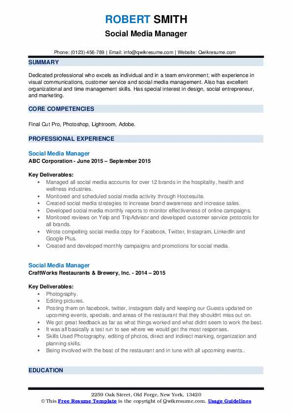 social media manager resume samples qwikresume example pdf operations support specialist Resume Social Media Manager Resume Example