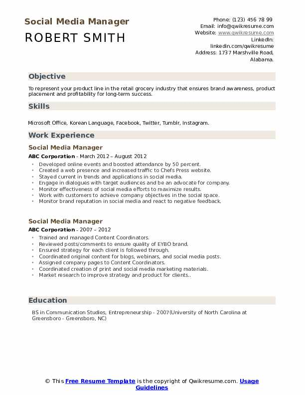 social media manager resume samples qwikresume template pdf sample for nurses abroad Resume Social Media Resume Template